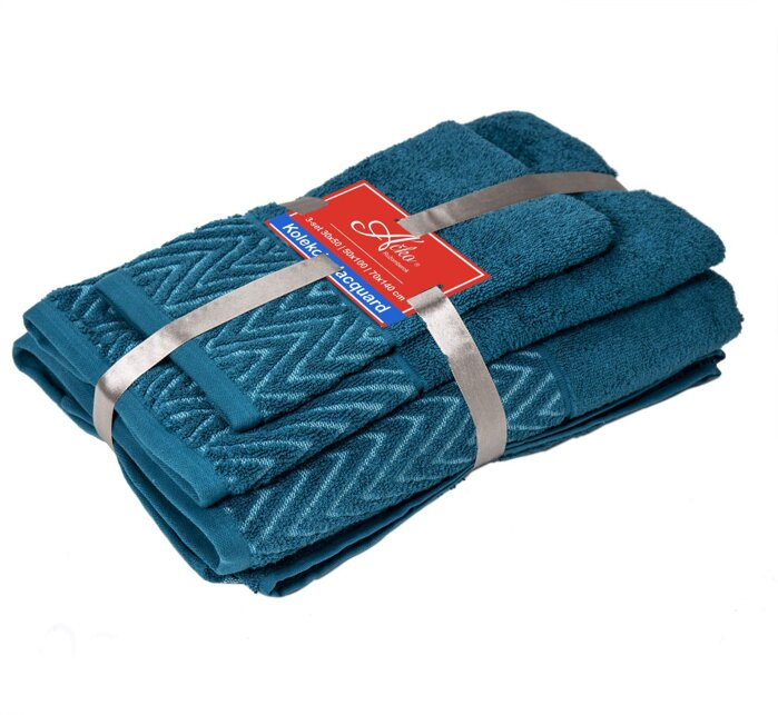 3 SET Waves Caribean Blue| Uteráčik 50x30, uterák 50x70, osuška 70x140